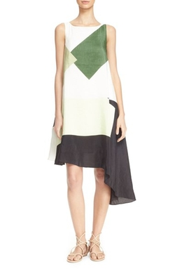 Tibi - Pieza Asymmetrical Linen & Silk Dress
