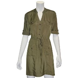 Indication by ECI  - Solid Roll-Tab Shirtdress
