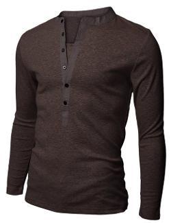 Doublju - Mens Long Sleeve Slim Fit Henley Shirts
