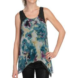 Dylan by True Grit  - Floral Silk Tank Top
