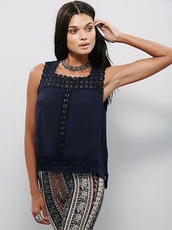 Free People - Cutwork Neckline Tank Top