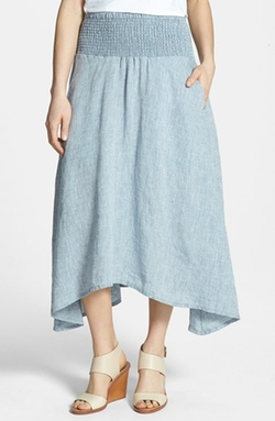 Eileen Fisher  - Asymmetrical Linen Chambray Midi Skirt