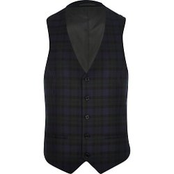 River Island - Blue Plaid Single Breasted Vest