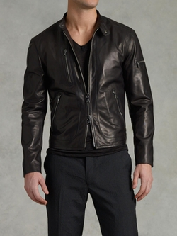 John Varvatos - Zip Pocket Leather Jacket