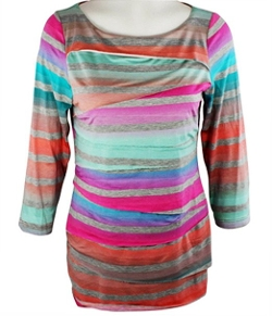 Boho Chic Apparel - Long Sleeve Scoop Neck Horizontal Layered Tunic Top
