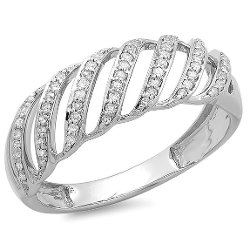 DazzlingRock Collection - Sterling Silver Round Diamond Ladies Cocktail Band Ring