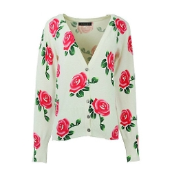 Chancen - Rose Floral Print Knitted Cardigan