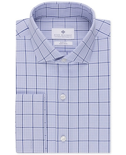 Ryan Seacrest Distinction - Non-Iron Slim-Fit English Blue Check French Cuff Shirt