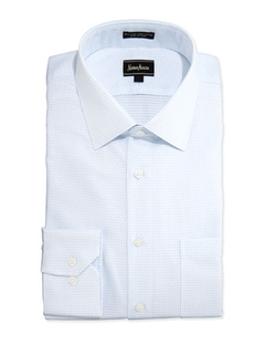 Neiman Marcus   - Non-Iron Trim-Fit Diamond Check Dress Shirt