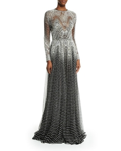 Naeem Khan - Metallic-Wave Illusion Gown, Silver/black