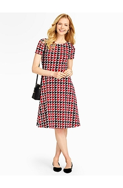 Talbots - Modern Houndstooth Fit-And-Flare Dress