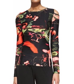 Jean Paul Gaultier - Printed Cold-Shoulder Top