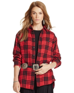 Ralph Lauren - Plaid Cotton Boyfriend Shirt