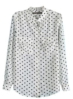 Sheinside - White Long Sleeve Polka Dot Epaulet Blouse