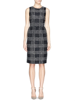 St. John - Check Knit Wool Blend Dress