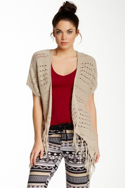 Poof Too  - Open Front Fringe Cardigan