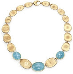Marco Bicego - Lunaria Aquamarine & Yellow Gold Necklace