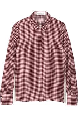Victoria Beckham Denim - Gingham-Print Silk-Faille Shirt