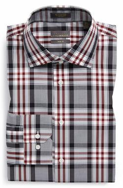 Calibrate - Trim Fit Non-Iron Plaid Stretch Dress Shirt
