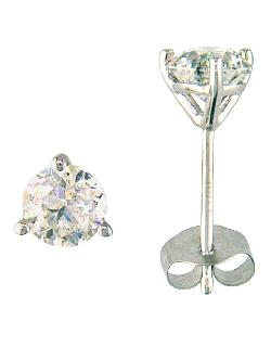 EFFY COLLECTION  - 14 Kt. White Gold Round-Cut Diamond Stud Earrings