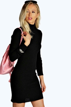 Boohoo - Emily Turtle Neck Rib Knit Bodycon Dress