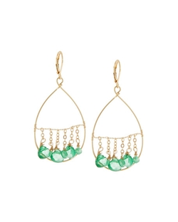 Fragments  - Golden Dangling Briolette Wire Teardrop Earrings