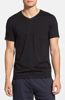 Daniel Buchler  - Silk & Cotton Short Sleeve V-Neck T-Shirt