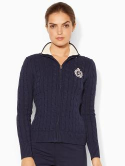 Lauren Active - Cable-Knit Cotton Mockneck