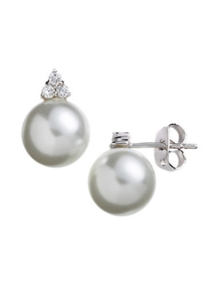 Lord & Taylor - Sterling Silver And Cubic Zirconia Pearl Earrings