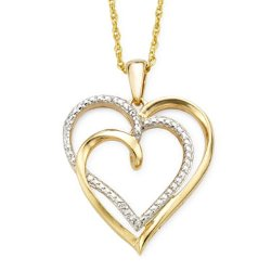 Diamond Accent  - Two-Tone Double Heart Pendant Necklace