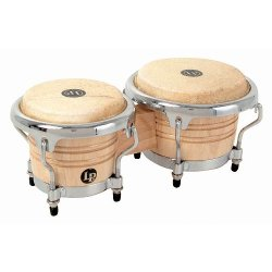 Latin Percussion - Mini Tunable Natural Wood Bongos Drum