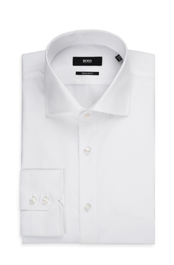 BOSS - Regular Fit, Spread Collar Easy Iron Cotton Dress Shirt