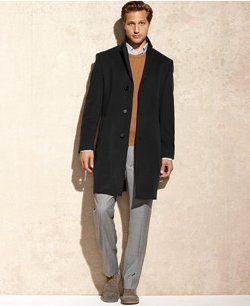 Calvin Klein  - Solid Plaza Cashmere-Blend Overcoat