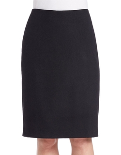 Lord & Taylor - Brushed Melton Solid Pencil Skirt