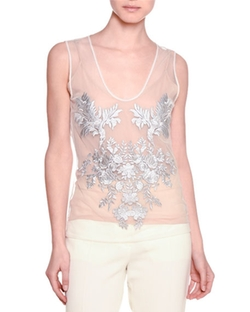 Stella McCartney  - Sleeveless Floral-Embroidered Top