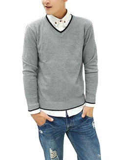 Uxcell - V Neck Contrast Collar Ribbed Trim Sweater
