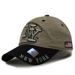 City Hunter  - New York Cotton 2 Tone Baseball Caps - Khaki/black
