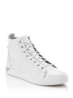 Diesel - Quilted Leather High-Top Sneakers