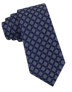 Black Brown 1826  - Silk Dotted Square Print Tie