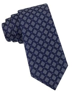 Black Brown 1826 - Silk Dotted Square Print Tie