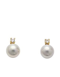 Majorica  - Cubic Zirconia And Organic Pearl Stud Earrings