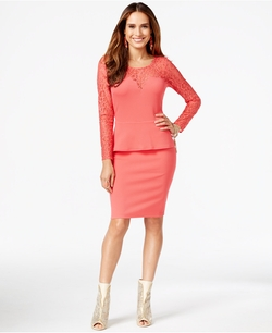 Thalia Sodi - Sodi Long-Sleeve Illusion Peplum Dress