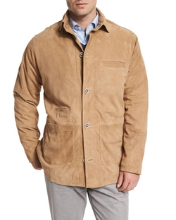 Peter Millar  - Suede Button-Down Shirt Jacket