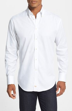 Thomas Dean  - Regular Fit Herringbone Dobby Sport Shirt