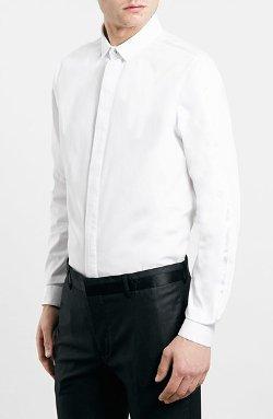 Topman  - Slim Fit White Tuxedo Dress Shirt