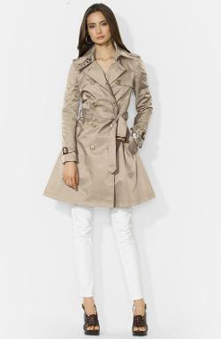 Lauren Ralph Lauren  - Double Breasted Skirt Trench Coat