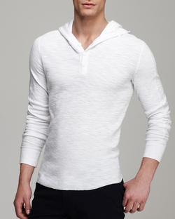 Vince - Slub Henley Hoodie Shirt