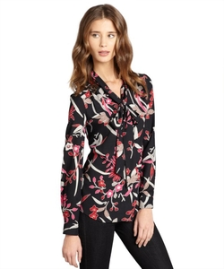 Pippa - Flower Print Tie Collar Button Up Blouse
