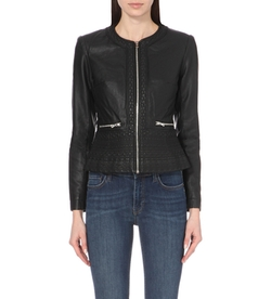 French Connection - Diamond-Stitch Faux-Leather Jacket