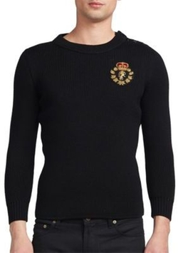 Saint Laurent - Embroidered Patch Crewneck Sweater